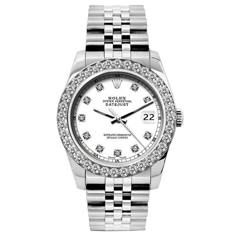 Rolex Datejust Diamond Watch, 26mm, Stainless SteelBracelet White Roman Dial w/ Diamond Bezel