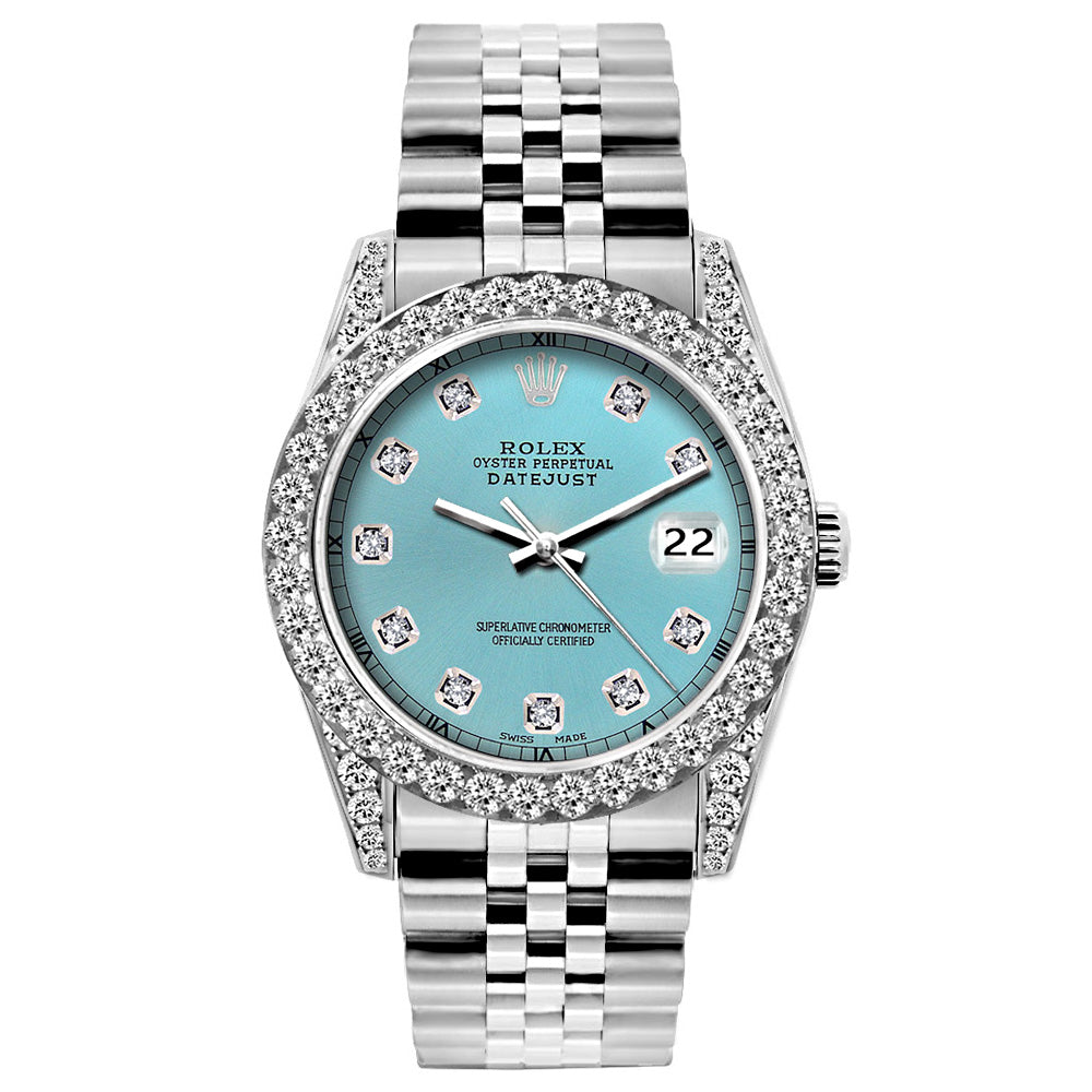 Rolex Datejust Diamond Watch, 26mm, Stainless SteelBracelet Blue Rays Dial w/ Diamond Bezel and Lugs