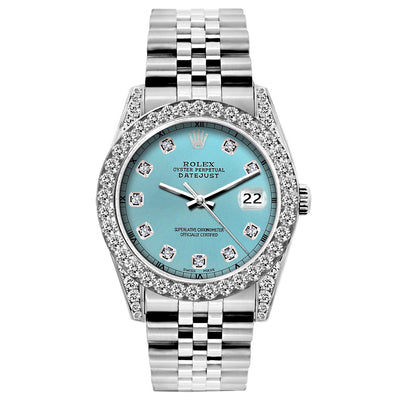 Rolex Datejust 26mm Stainless Steel Bracelet Blue Rays Dial w/ Diamond Bezel and Lugs