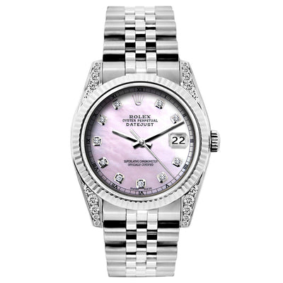 Rolex Datejust 26mm Stainless Steel Bracelet Pink Mother of Pearl Dial w/ Diamond Lugs