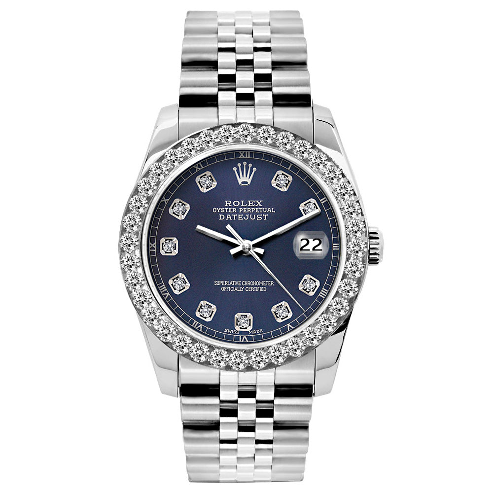 Rolex Datejust 26mm Stainless Steel Bracelet Navy Blue Dial w/ Diamond Bezel