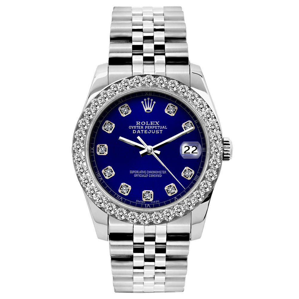Rolex Datejust Diamond Watch, 26mm, Stainless SteelBracelet Blue Dial w/ Diamond Bezel