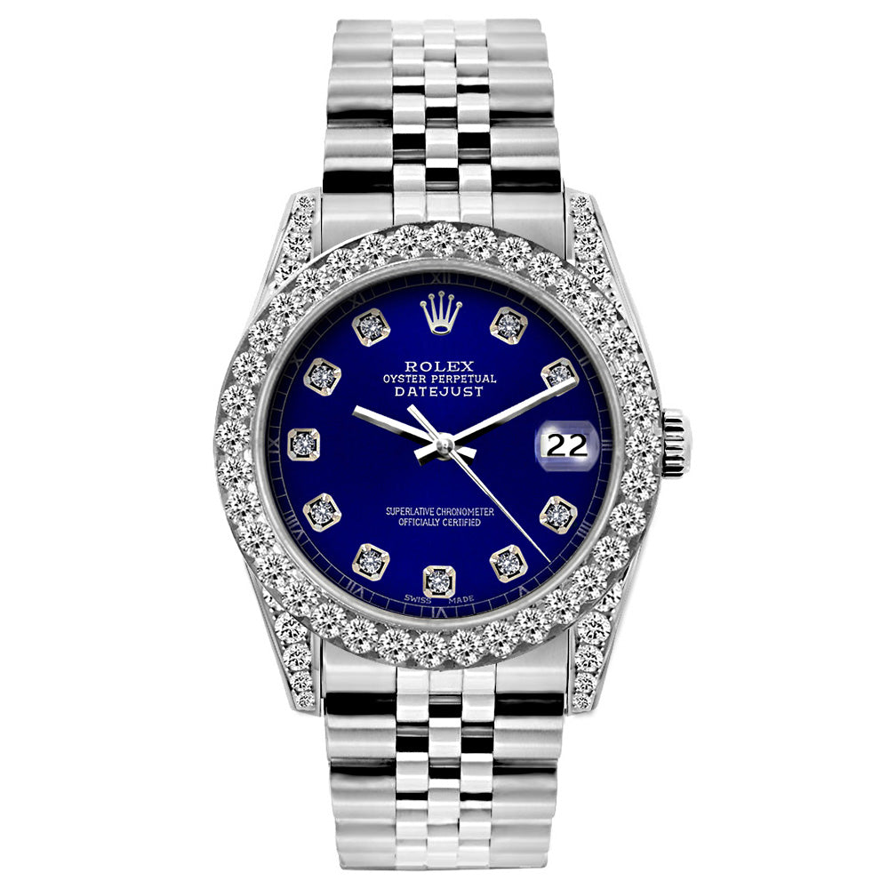 Rolex Datejust Diamond Watch, 26mm, Stainless SteelBracelet Blue Dial w/ Diamond Bezel and Lugs