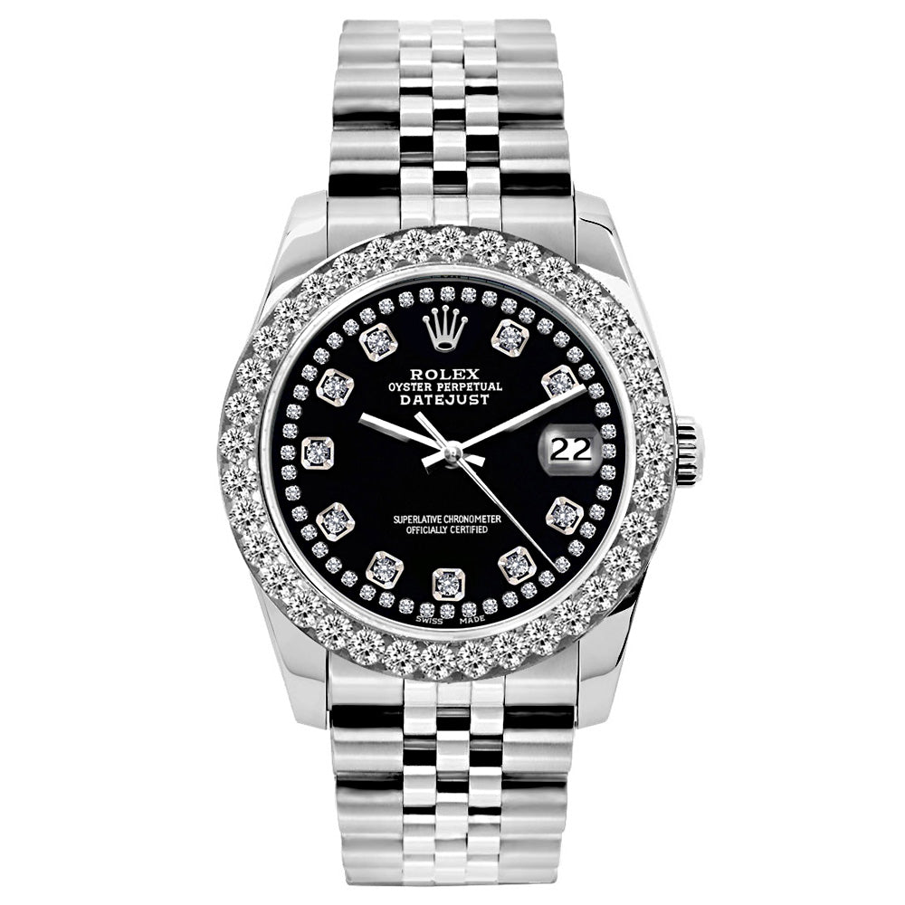 Rolex Datejust Diamond Watch, 26mm, Stainless SteelBracelet Black Star Dial w/ Diamond Bezel