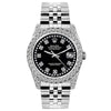 Rolex Datejust 26mm Stainless Steel Bracelet Black Star Dial w/ Diamond Bezel and Lugs