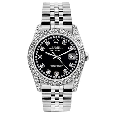 Rolex Datejust Diamond Watch, 26mm, Stainless SteelBracelet Black Star Dial w/ Diamond Bezel and Lugs