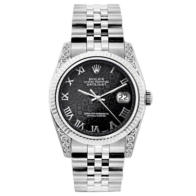 Rolex Datejust 26mm Stainless Steel Bracelet Black Rolex Dial w/ Diamond Lugs