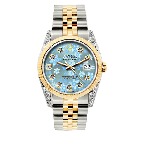 Rolex Datejust Diamond Watch, 36mm, Yellow Gold and Stainless Steel Bracelet Blue Flower Dial w/ Diamond Lugs