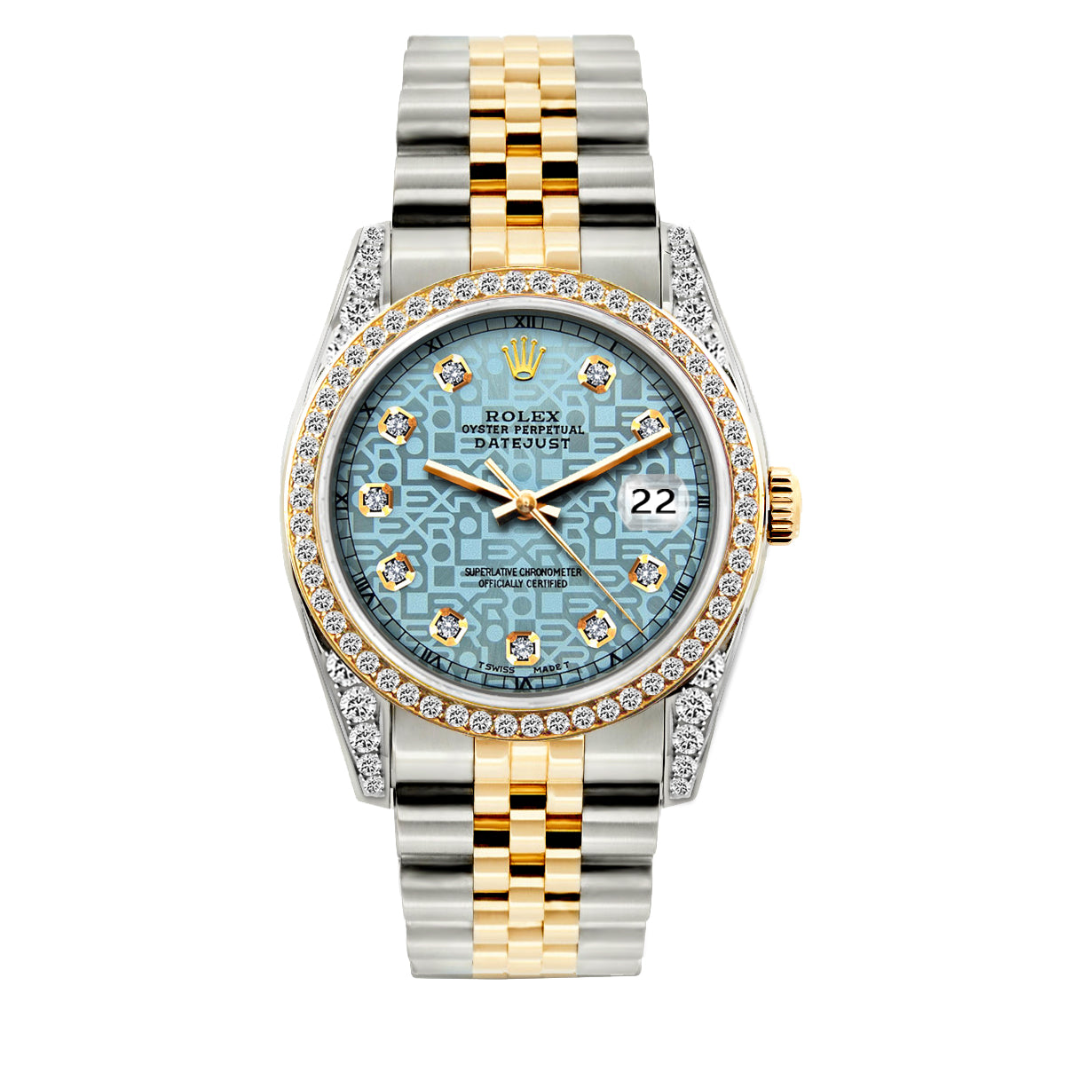 Rolex Datejust 36mm Yellow Gold and Stainless Steel Bracelet Blue Rolex Dial w/ Diamond Bezel and Lugs