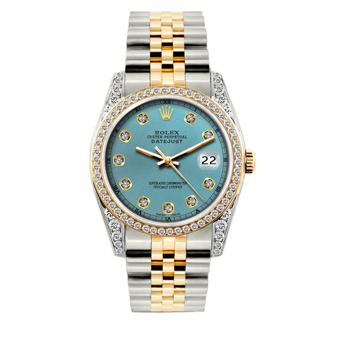 Rolex Datejust Diamond Watch, 36mm, Yellow Gold and Stainless Steel Bracelet Ice Blue Dial w/ Diamond Bezel and Lugs