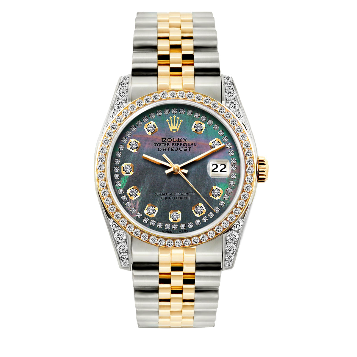 Rolex Datejust Diamond Watch, 36mm, Yellow Gold and Stainless Steel Bracelet Mother of Pearl Dial w/ Diamond Bezel and Lugs