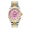 Rolex Datejust 36mm Yellow Gold and Stainless Steel Bracelet Pink Flower Dial