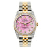 Rolex Datejust 36mm Yellow Gold and Stainless Steel Bracelet Pink Flower Dial w/ Diamond Bezel and Lugs