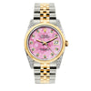 Rolex Datejust 36mm Yellow Gold and Stainless Steel Bracelet Pink Flower Dial w/ Diamond Lugs