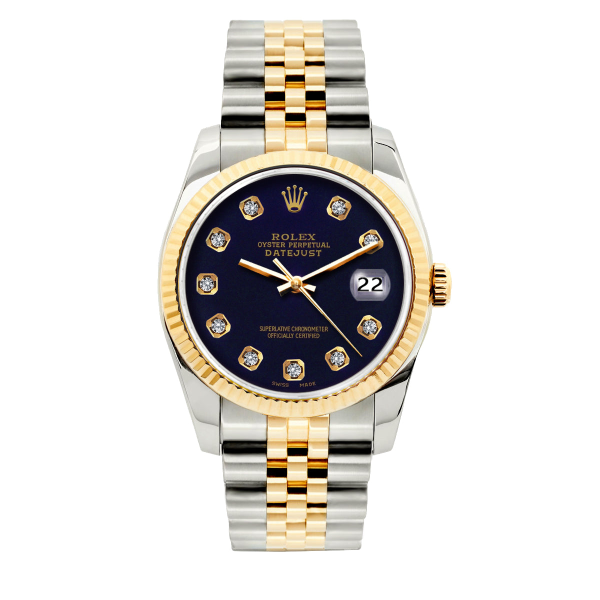Rolex Datejust 36mm Yellow Gold and Stainless Steel Bracelet Purple Dial