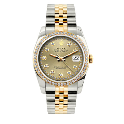 Rolex Datejust 36mm Yellow Gold and Stainless Steel Bracelet Gold Dial w/ Diamond Bezel