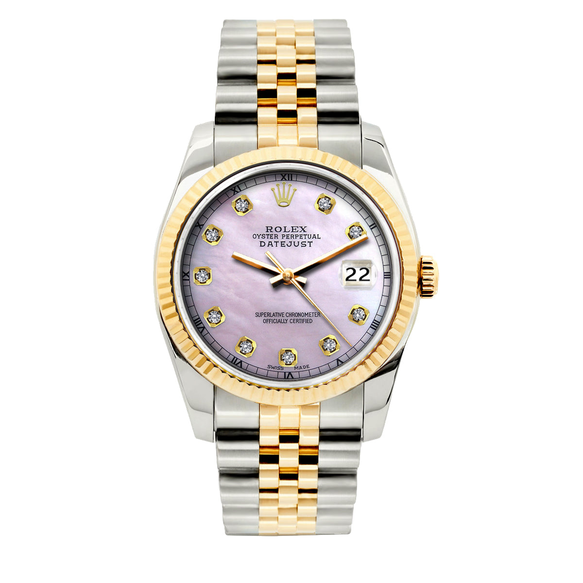 Rolex Datejust 36mm Yellow Gold and Stainless Steel Bracelet Lavender Dial