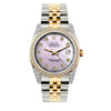 Rolex Datejust Diamond Watch, 36mm, Yellow Gold and Stainless Steel Bracelet Lavender Dial w/ Diamond Bezel and Lugs