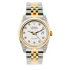 Rolex Datejust 36mm Yellow Gold and Stainless Steel Bracelet White Dial w/ Diamond Lugs