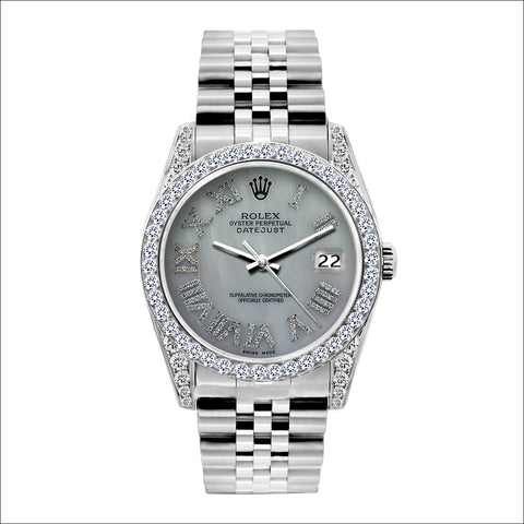 Rolex Datejust 36mm Stainless Steel Mother of Pearl Dial w/ Diamond Bezel and Lugs