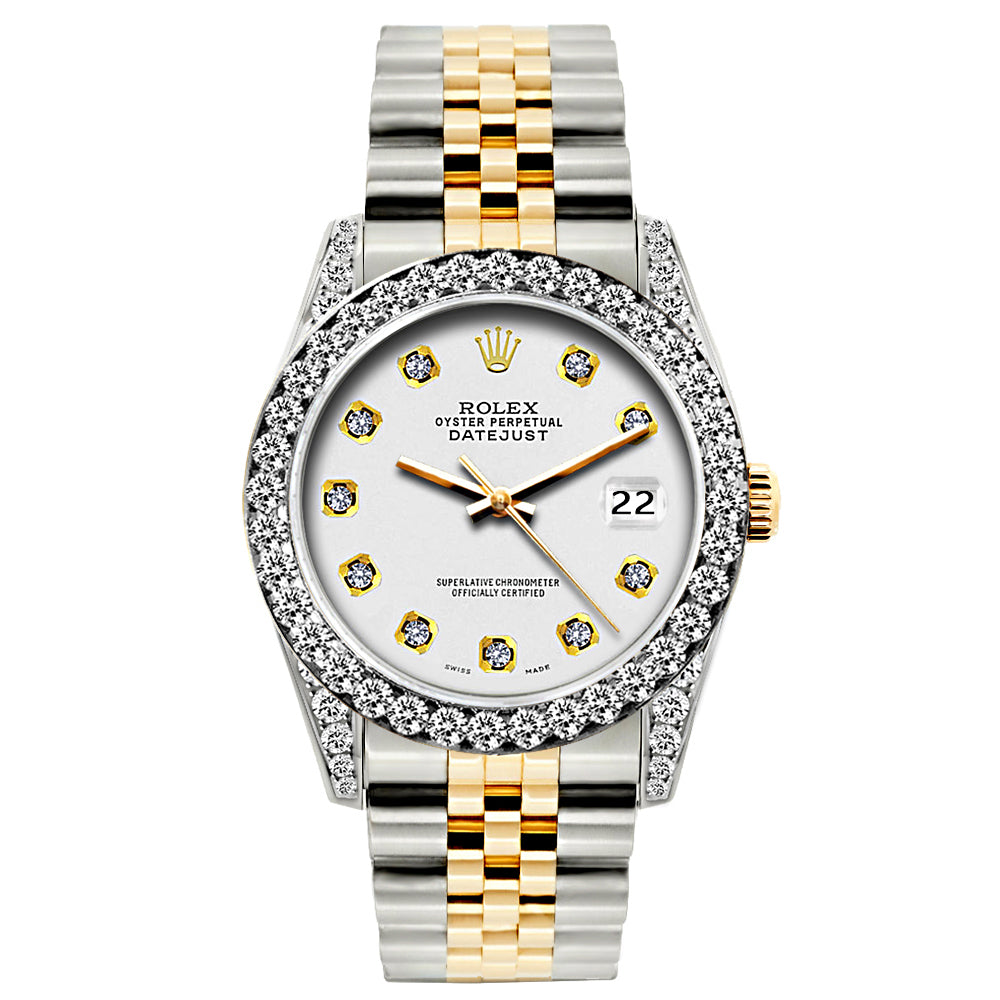Rolex Datejust Diamond Watch, 26mm, Yellow Gold and Stainless Steel Bracelet Whisper Dial w/ Diamond Bezel and Lugs