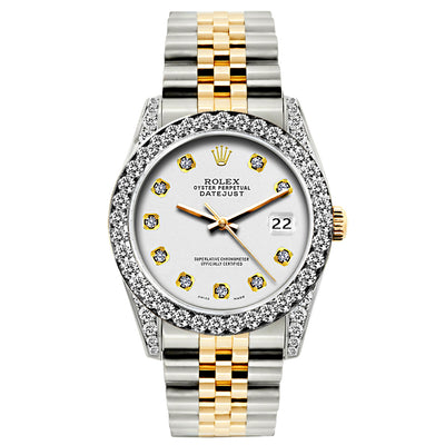 Rolex Datejust 26mm Yellow Gold and Stainless Steel Bracelet Whisper Dial w/ Diamond Bezel and Lugs