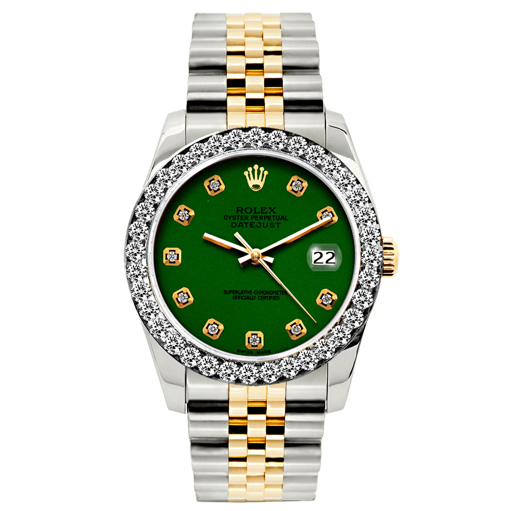 Rolex Datejust 26mm Yellow Gold and Stainless Steel Bracelet Green Dial w/ Diamond Bezel