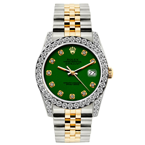 Rolex Datejust Diamond Watch, 26mm, Yellow Gold and Stainless Steel Bracelet Eastern Green Dial w/ Diamond Bezel and Lugs