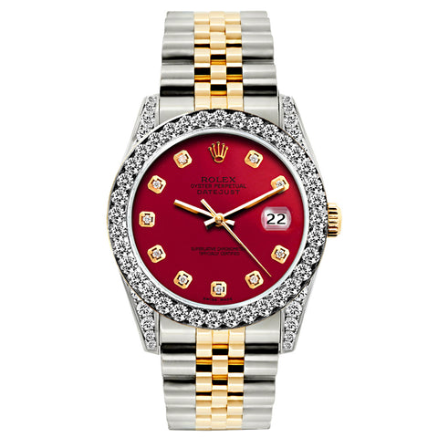 Rolex Datejust Diamond Watch, 26mm, Yellow Gold and Stainless Steel Bracelet Burgundy Dial w/ Diamond Bezel and Lugs