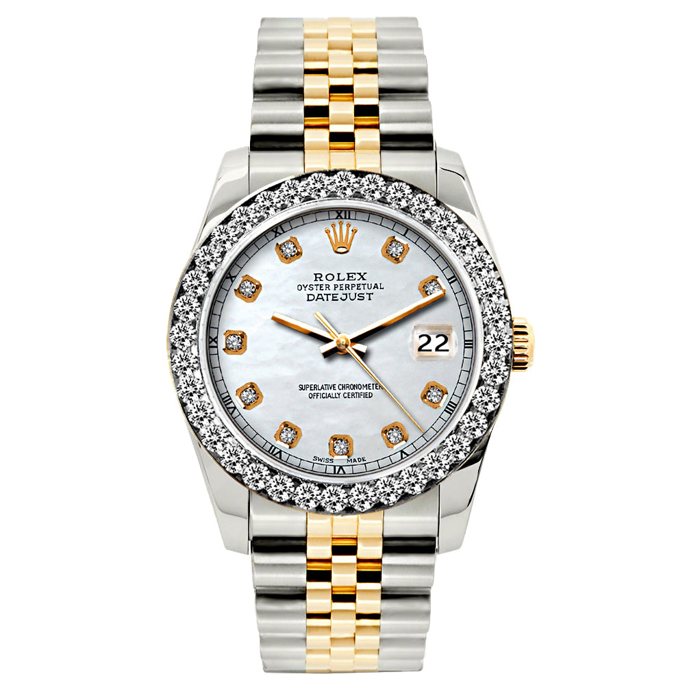 Rolex Datejust 26mm Yellow Gold and Stainless Steel Bracelet Solitude Dial w/ Diamond Bezel