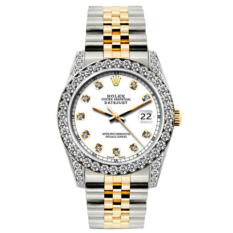 Rolex Datejust 26mm Yellow Gold and Stainless Steel Bracelet White Dial w/ Diamond Bezel