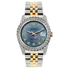 Rolex Datejust 26mm Yellow Gold and Stainless Steel Bracelet Blue Mother of Pearl Dial w/ Diamond Bezel and Lugs