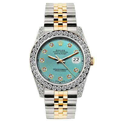 Rolex Datejust 26mm Yellow Gold and Stainless Steel Bracelet Cadet Blue Dial w/ Diamond Bezel and Lugs