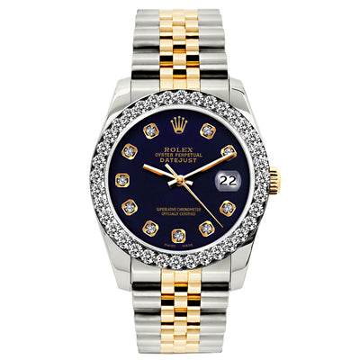 Rolex Datejust 26mm Yellow Gold and Stainless Steel Bracelet Black Russian Dial w/ Diamond Bezel