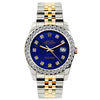 Rolex Datejust 26mm Yellow Gold and Stainless Steel Bracelet Sapphire Dial w/ Diamond Bezel