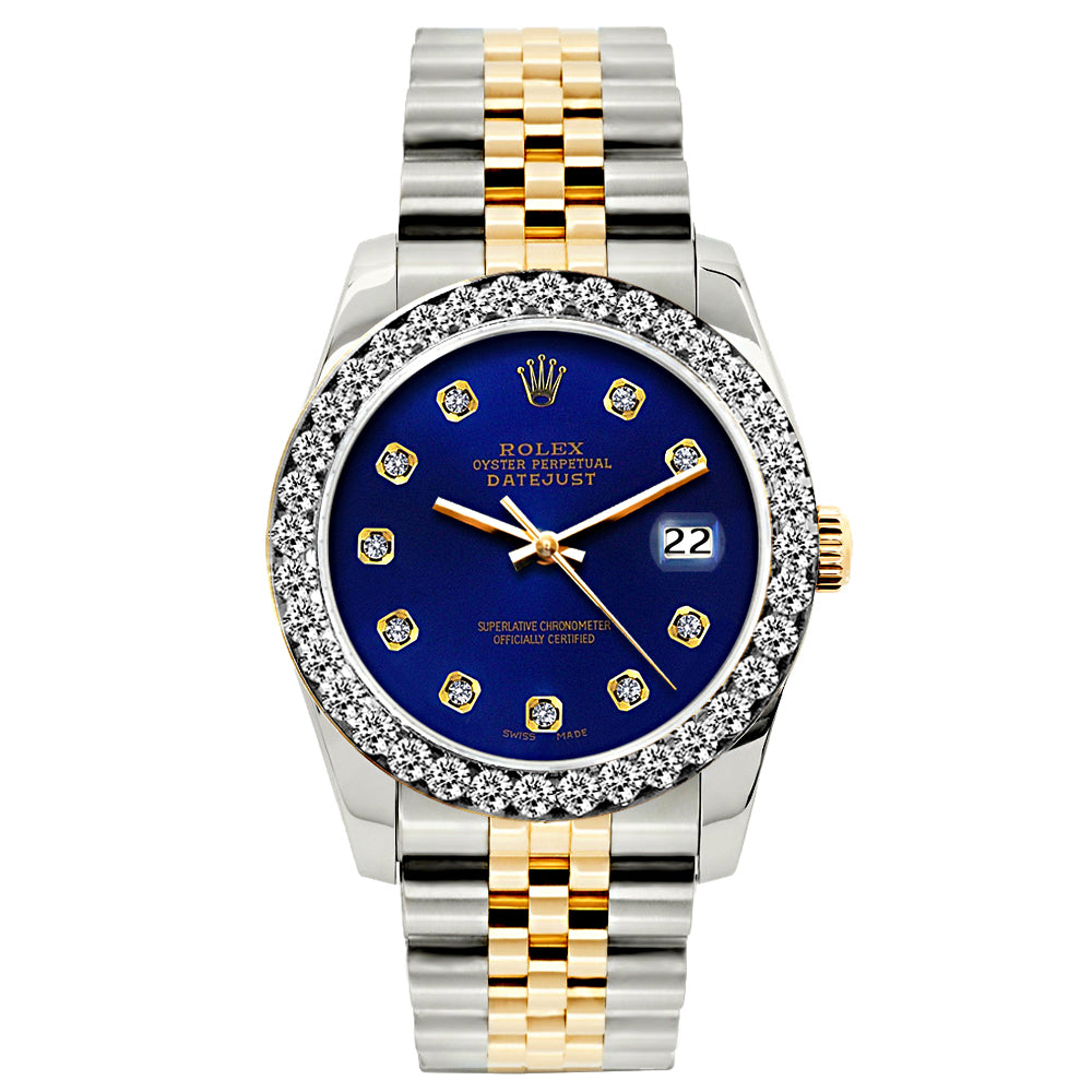 Rolex Datejust Diamond Watch, 26mm, Yellow Gold and Stainless Steel Bracelet Sapphire Dial w/ Diamond Bezel
