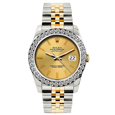 Rolex Datejust 26mm Yellow Gold and Stainless Steel Bracelet Gold Dial w/ Diamond Bezel