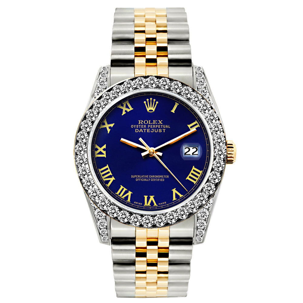 Rolex Datejust Diamond Watch, 26mm, Yellow Gold and Stainless Steel Bracelet Sapphire Dial w/ Diamond Bezel and Lugs