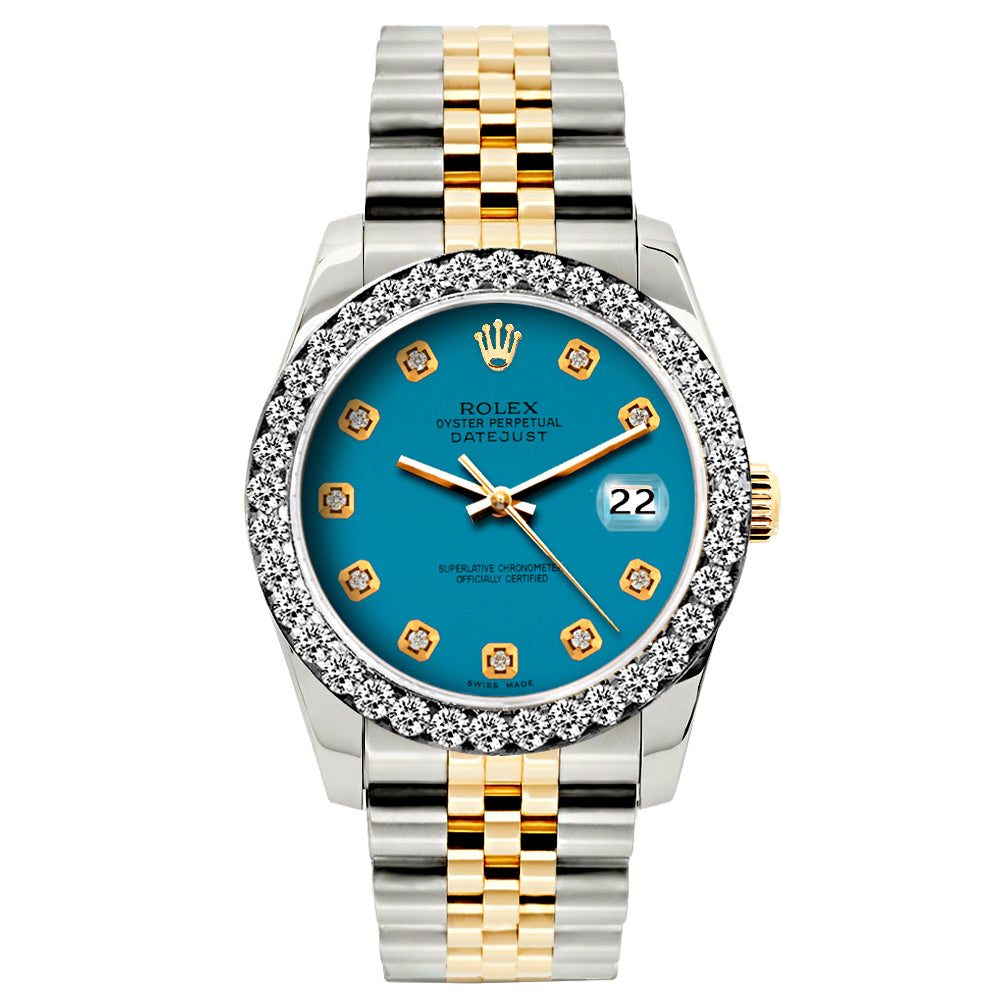 Rolex Datejust Diamond Watch, 26mm, Yellow Gold and Stainless Steel Bracelet Eastern Blue Dial w/ Diamond Bezel