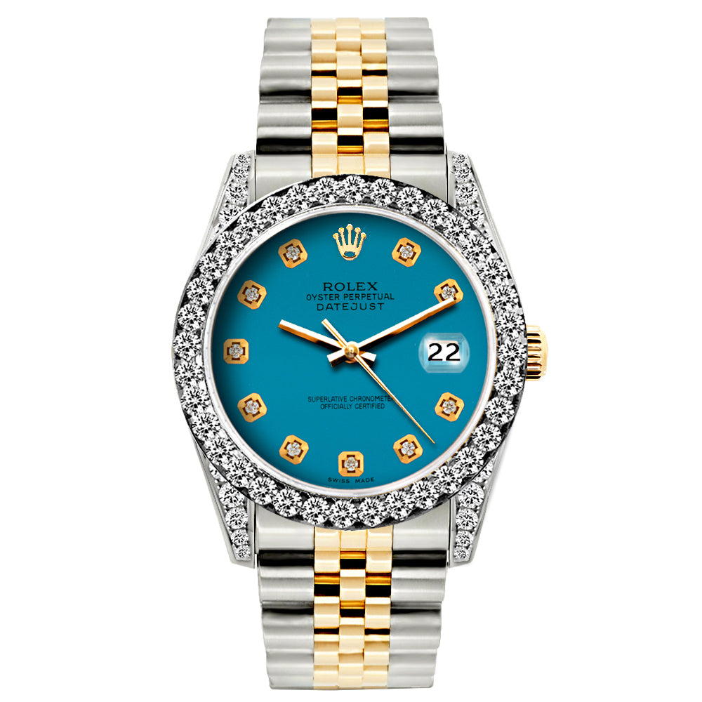 Rolex Datejust 26mm Yellow Gold and Stainless Steel Bracelet Eastern Blue Dial w/ Diamond Bezel and Lugs