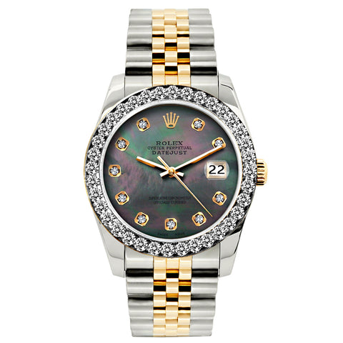 Rolex Datejust Diamond Watch, 26mm, Yellow Gold and Stainless Steel Bracelet Mother of Pearl Dial w/ Diamond Bezel