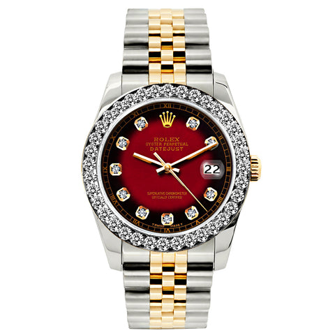 Rolex Datejust Diamond Watch, 26mm, Yellow Gold and Stainless Steel Bracelet Red and Black Dial w/ Diamond Bezel
