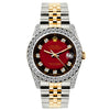 Rolex Datejust 26mm Yellow Gold and Stainless Steel Bracelet Red and Black Dial w/ Diamond Bezel and Lugs
