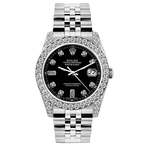 Rolex Datejust Diamond Watch, 26mm, Stainless SteelBracelet Black Dial w/ Diamond Bezel and Lugs