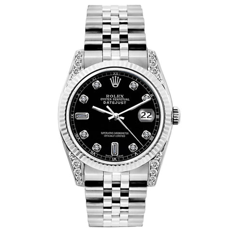 Rolex Datejust Diamond Watch, 26mm, Stainless SteelBracelet Black Dial w/ Diamond Lugs