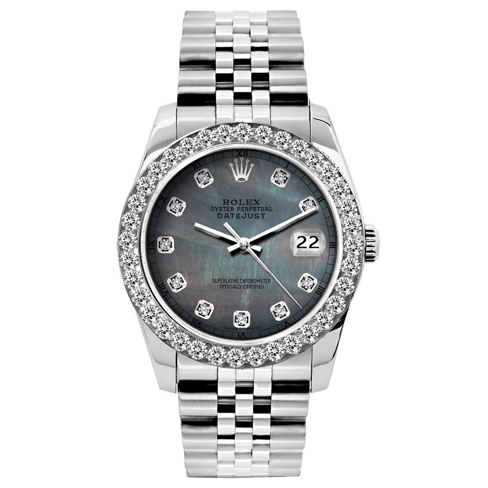 Rolex Datejust Diamond Watch, 26mm, Stainless SteelBracelet Black Mother of Pearl Dial w/ Diamond Bezel