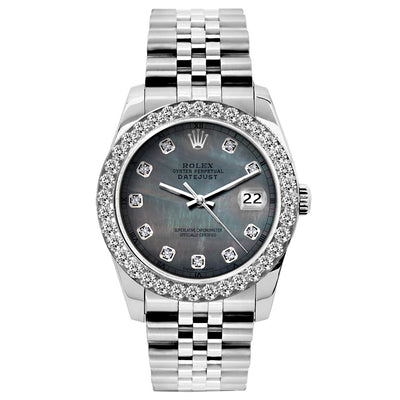 Rolex Datejust 26mm Stainless Steel Bracelet Black Mother of Pearl Dial w/ Diamond Bezel