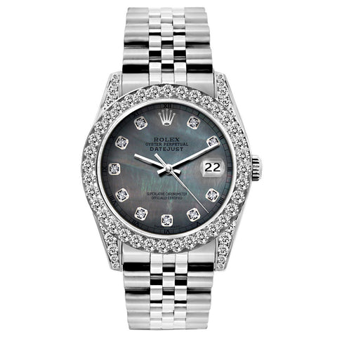 Rolex Datejust Diamond Watch, 26mm, Stainless SteelBracelet Black Mother of Pearl Dial w/ Diamond Bezel and Lugs