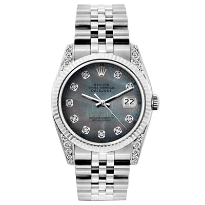 Rolex Datejust 26mm Stainless Steel Bracelet Black Mother of Pearl Dial w/ Diamond Lugs