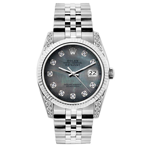 Rolex Datejust Diamond Watch, 26mm, Stainless SteelBracelet Black Mother of Pearl Dial w/ Diamond Lugs